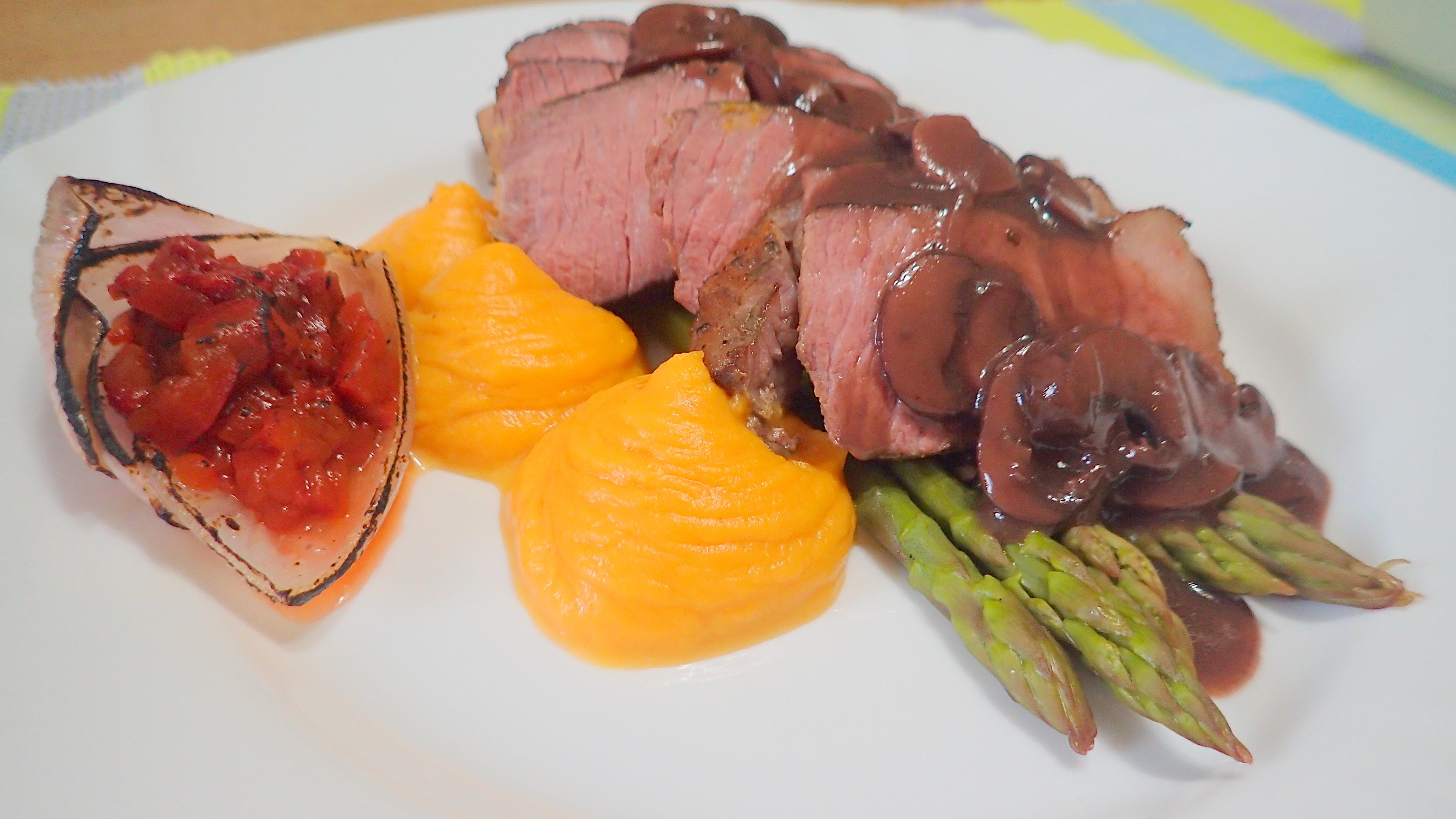 SousVide Beef Brisket Steaks in mushroom red wine jus