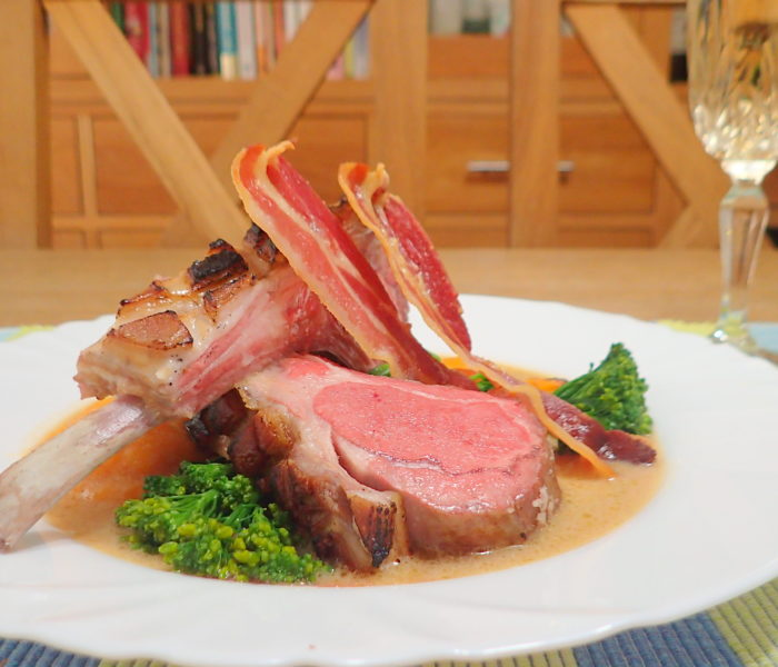 SousVide Rack of lamb with a mustard white wine sauce