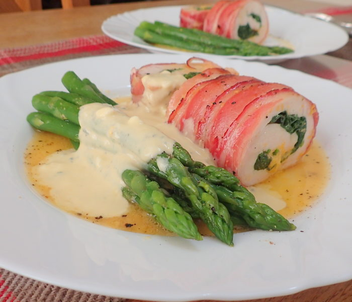 Chicken breast stuffed served with a blue cheese sauce