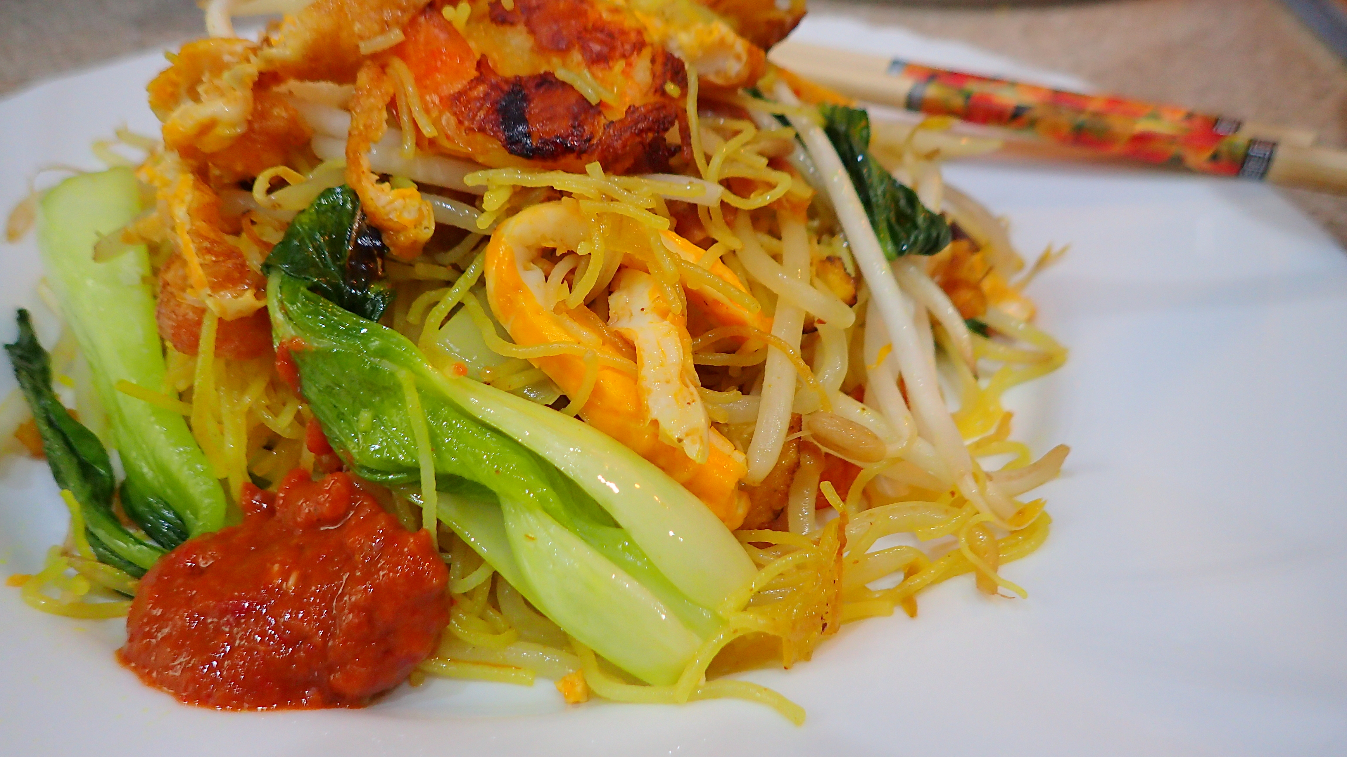 Stir fry rice vermicelli with dried shrimps