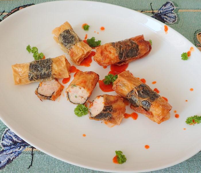 Fu Pei Guen – 腐皮卷 (虾 & 鸡); prawns and chicken beancurd wraps